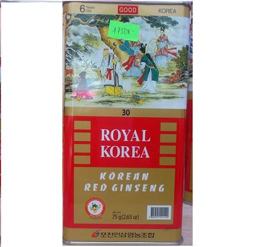 Hồng sâm củ khô Royal Ginseng Pocheon good 75gr 4 củ