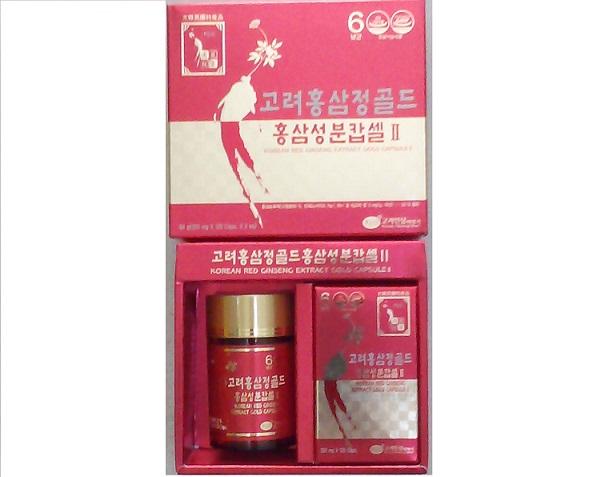 Hồng sâm viên nhộng 2 Lọ 120 viên mới – korea red ginseng extract gold capsule ll