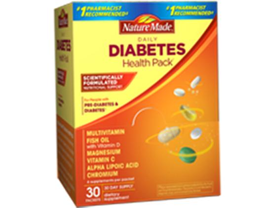 VITAMIN CHO NGƯỜI BỊ TIỂU ĐƯỜNG CỦA MỸ, HỘP 60 GÓI - DIABETES HEALTH PACK NATURE MADE