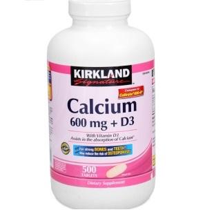 Calcium Kirkland 600mg + D3: Hộp 500 viên