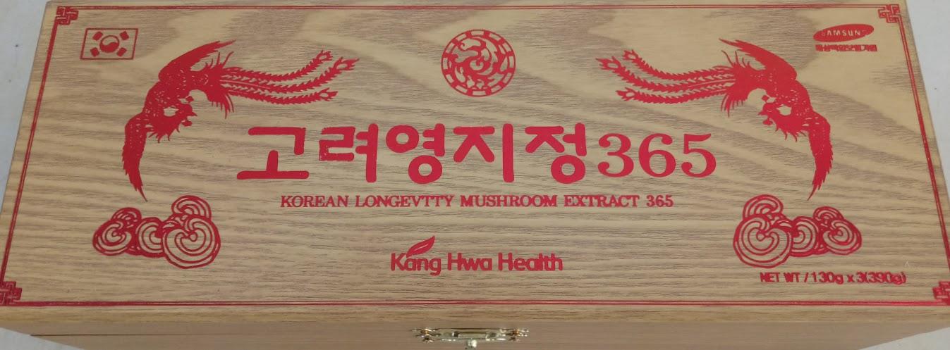 Cao nấm linh chi 365 hộp gỗ vàng - Korean longevity mushroom extract 365