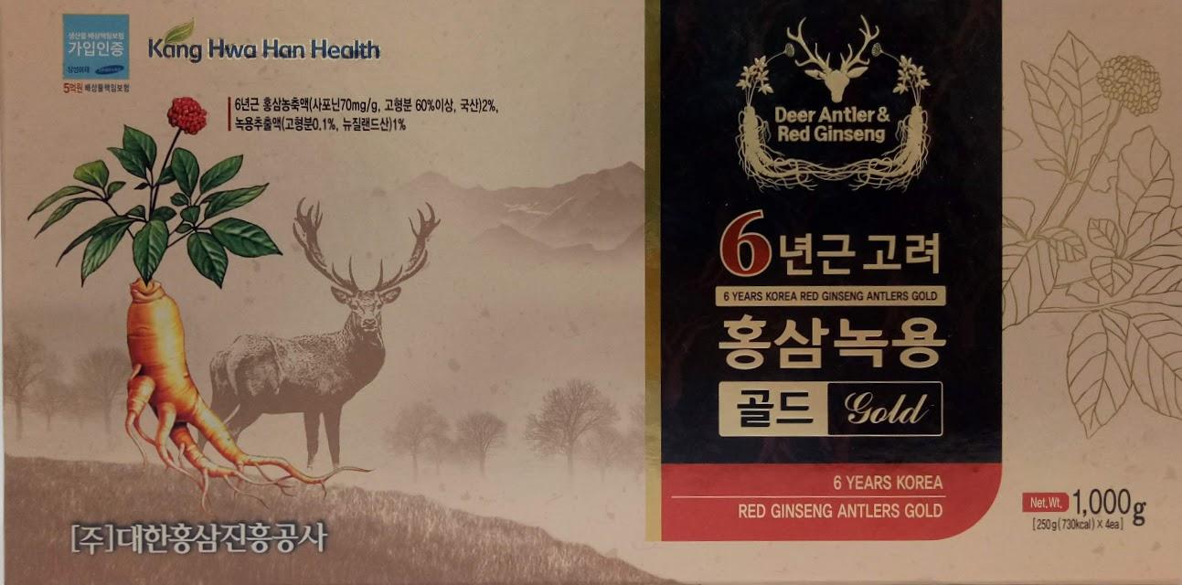 Cao Hồng Sâm Nhung Hươu- 6 years korea red ginseng antlers gold